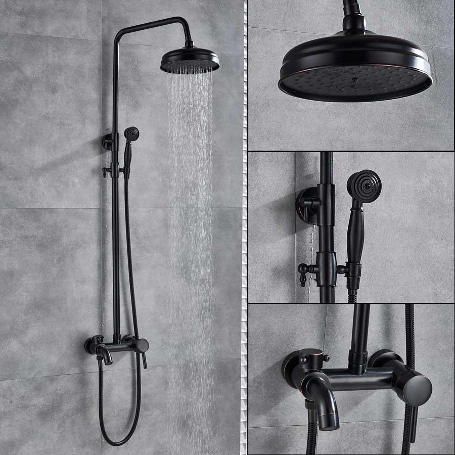 Bronze Schwarz Bad Dusche Wasserhahn Mixer Wand Montieren 8