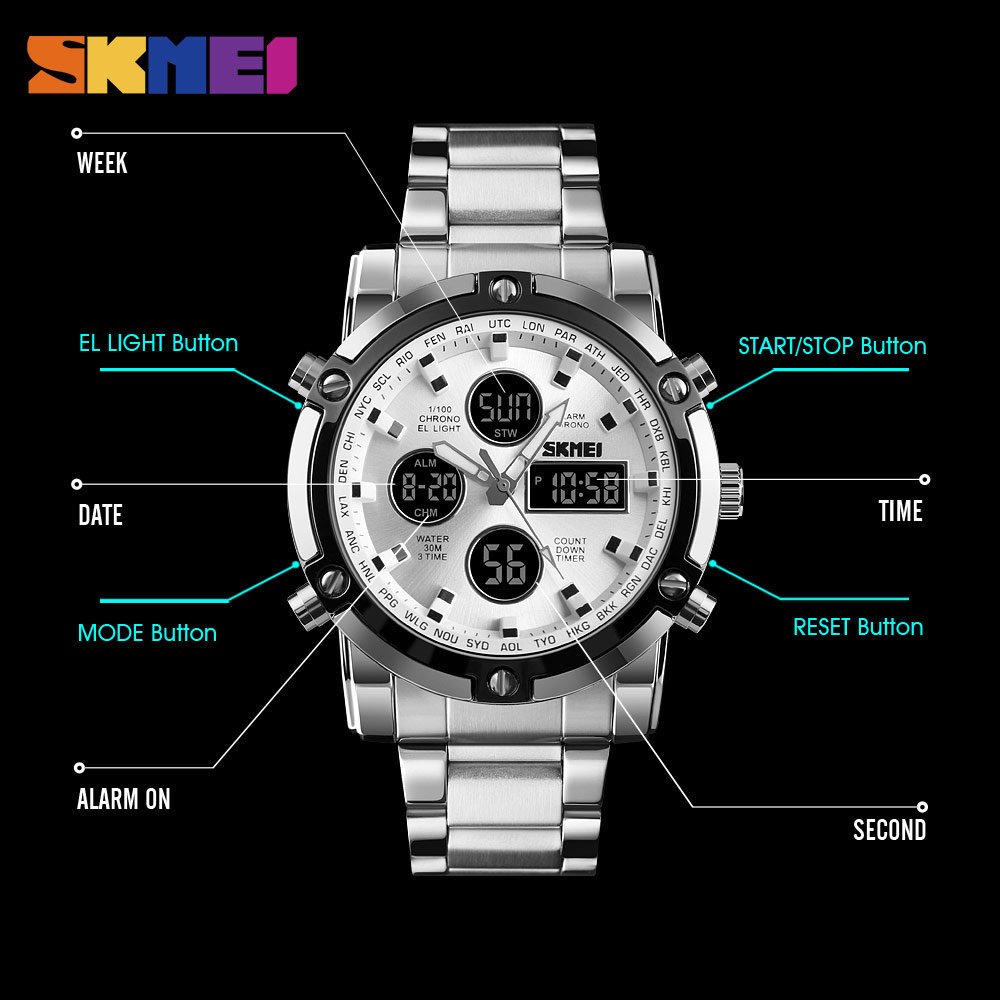 <font><b>SKMEI</b></font> Fashion Business Men Watch Mature Gentleman Digital Electronic Wristwatch Dual Display Stainless Steel Alarm Clock image