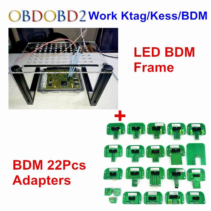 Последним BDM кадр Новый светодиодный ЭБУ программирования + BDM 22 адаптеры 4 шт. зонд ручки для KESS KTAG FGTECH светодиодный BDM зонда 22 шт. Полный Адап... ...