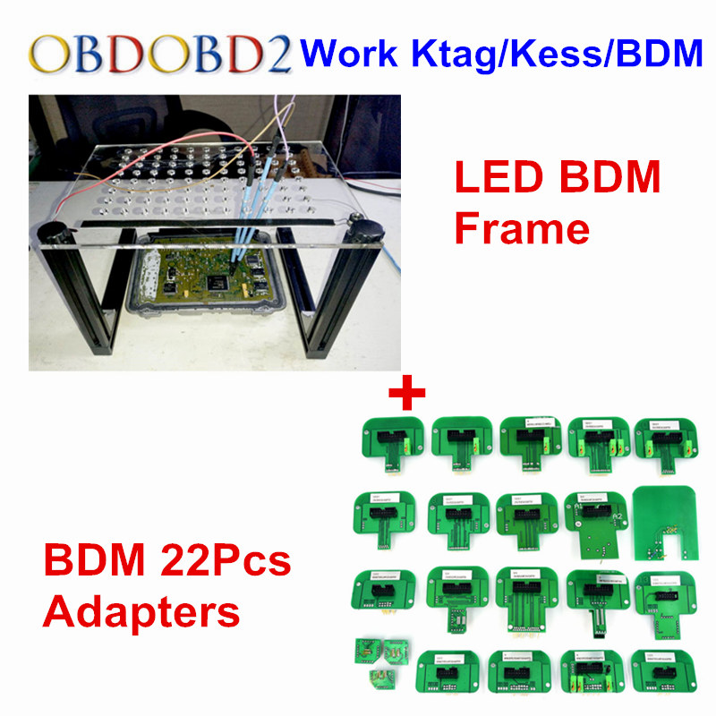 Newest BDM FRAME NEW LED ECU Programming+BDM 22 Adapters 4pcs Probe Pens For KESS KTAG FGTECH LED BDM Probe 22pcs Full Adapters