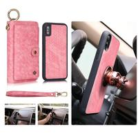 POLA Fashion Woven Pattern Wristband Leather Holster Wallet Case For iphone XS MAX 7 8 Card Pocket Magnetic Detachable Car Ring