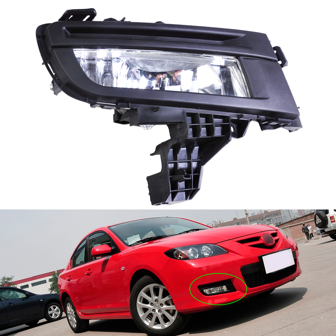 DWCX High Quality ABS 12V 51W Front Right Side Black Fog Light Lamp 9006 Replacement for Mazda 3 2007 2008 2009 Car Accessories free shipping for vw passat b6 2006 2007 2008 2009 2010 2011 new front left and right side high quality 9 led fog lamp fog light