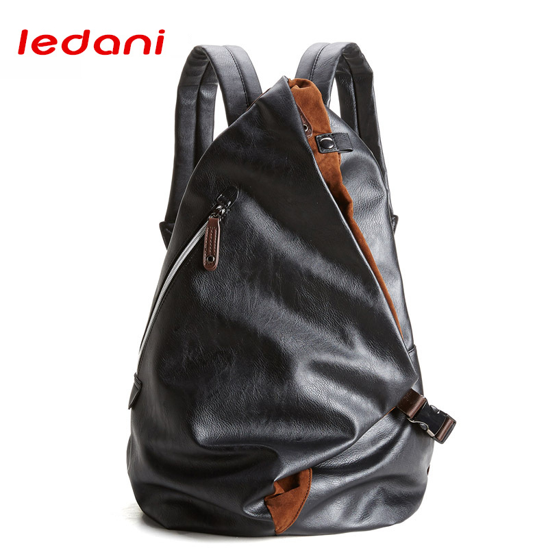 LEDANI Fashion Men Business Casual Backpacks for School Bag Travel Black PU Leather Women Shoulder Bag Vintage Boys Men Backpack non mainstream mix color medium curly neat bang fluffy women s synthetic wig