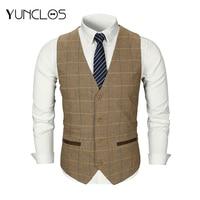 YUNCLOS 2019 New Men Woolen Suit Vest Single Breasted Plaid Wedding Groom Slim Fit Vest Waistcoat Business Formal Vest for Men