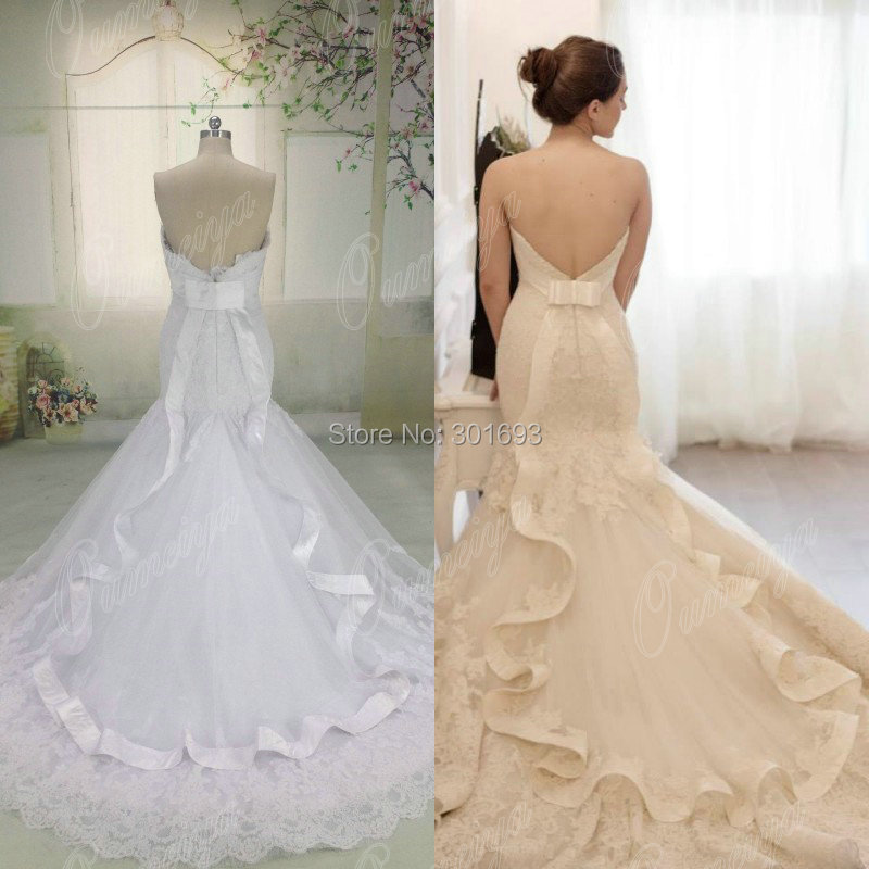 French Lace Mermaid Wedding Dress: Oumeiya ORW452 Real Pictures French Cord Lace Appliqued