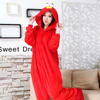 Fashion Sesame Street Red Animal Pajamas Unisex Adults Flannel For Women Clothes Party Onesies Clothing Pyjama