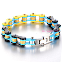 Fashion Charm Mens Bracelets Men Jewelry Gold Color Stainless Steel Motorcycle Bicycle Chain Link Mens Bracelets