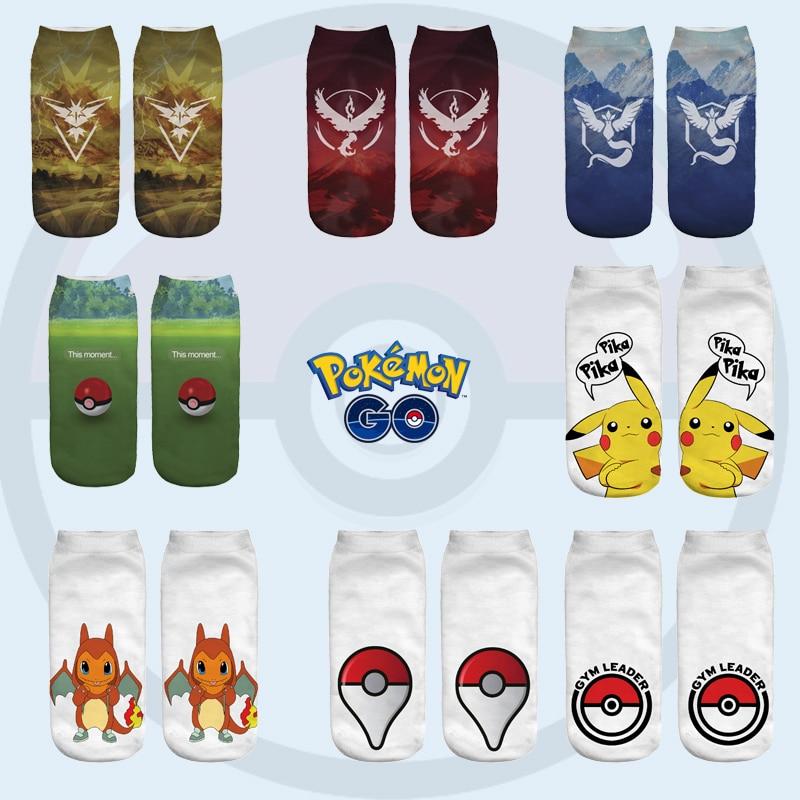 Cheaper Wholesale Pokemon Go Cartoon Anime Short Cute   Sock   Lady Girl Summer Funny New Women   Socks   3D Print