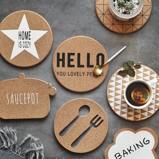 1PC Cork Wood Drink Coaster Tea Coffee Cup Mat Japan Style Flexible Table Heat Resistant Round : table coasters for drinks - pezcame.com