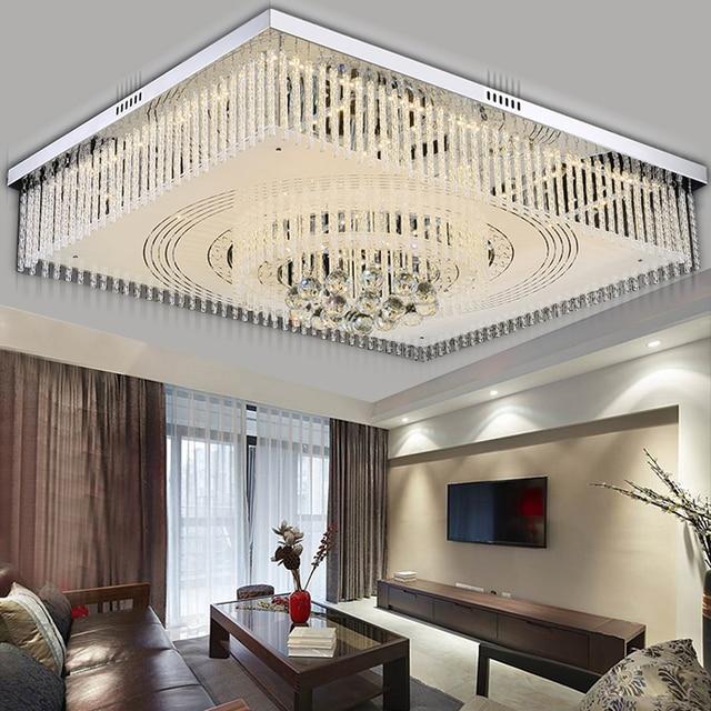 Led wohnzimmer kristall lampe rechteckigen schlafzimmer lampe warm ...