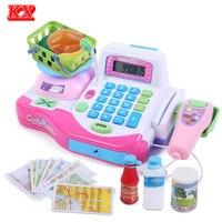 Crianças carrinho de Compras Caixa Registradora Máquina com Plataforma de Pesagem Scanner Alimentos D50 Cashbox Brinquedos Educativos Estabelecidos para As Meninas Rosa Vermelha