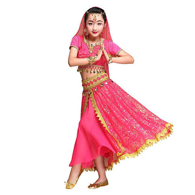 106a6845b Belly Dance Costume Set Bollywood Girls Indian Women Dance Sari ...