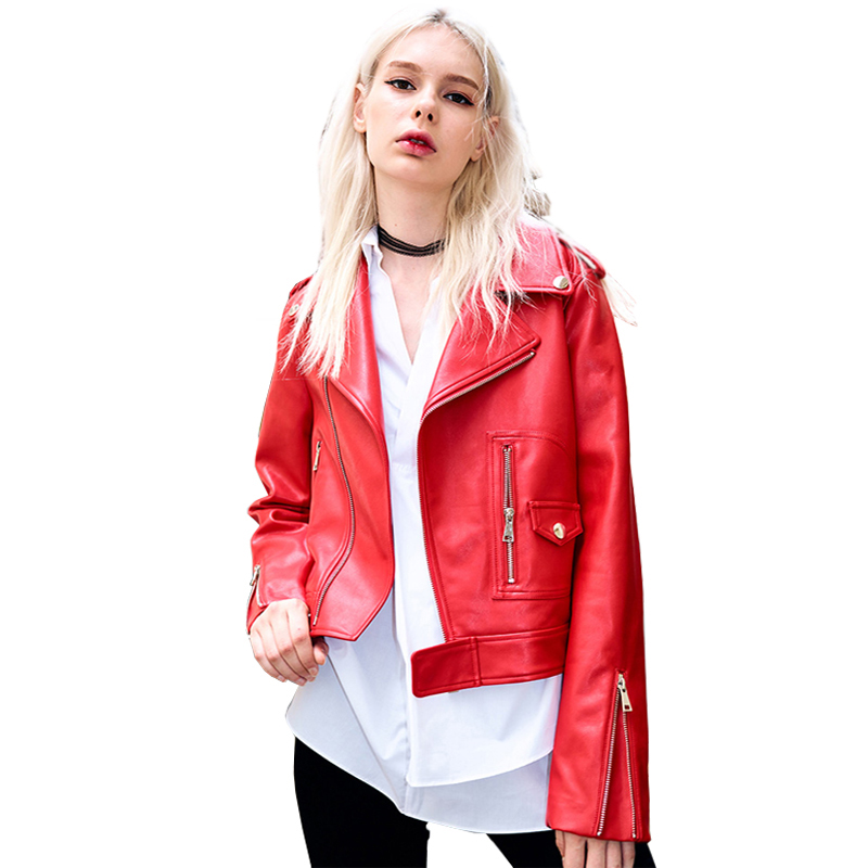 Lusumily Women Red   Leather   Jacket Spring Autumn PU Jackets Ladies Long Sleeved Turn Down Collar Slim Moto Biker   Leather   Coat