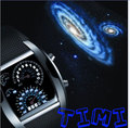 NEW 7 Color Cool Fashion Design Car Blue LED Light Dot Matrix Mens WATCH dive