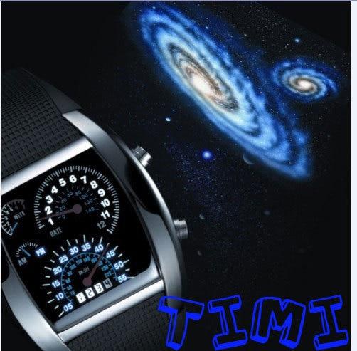 TVG NEW 7 Color Cool Fashion Design Car Blue LED Light Dot Matrix Mens WATCH dive