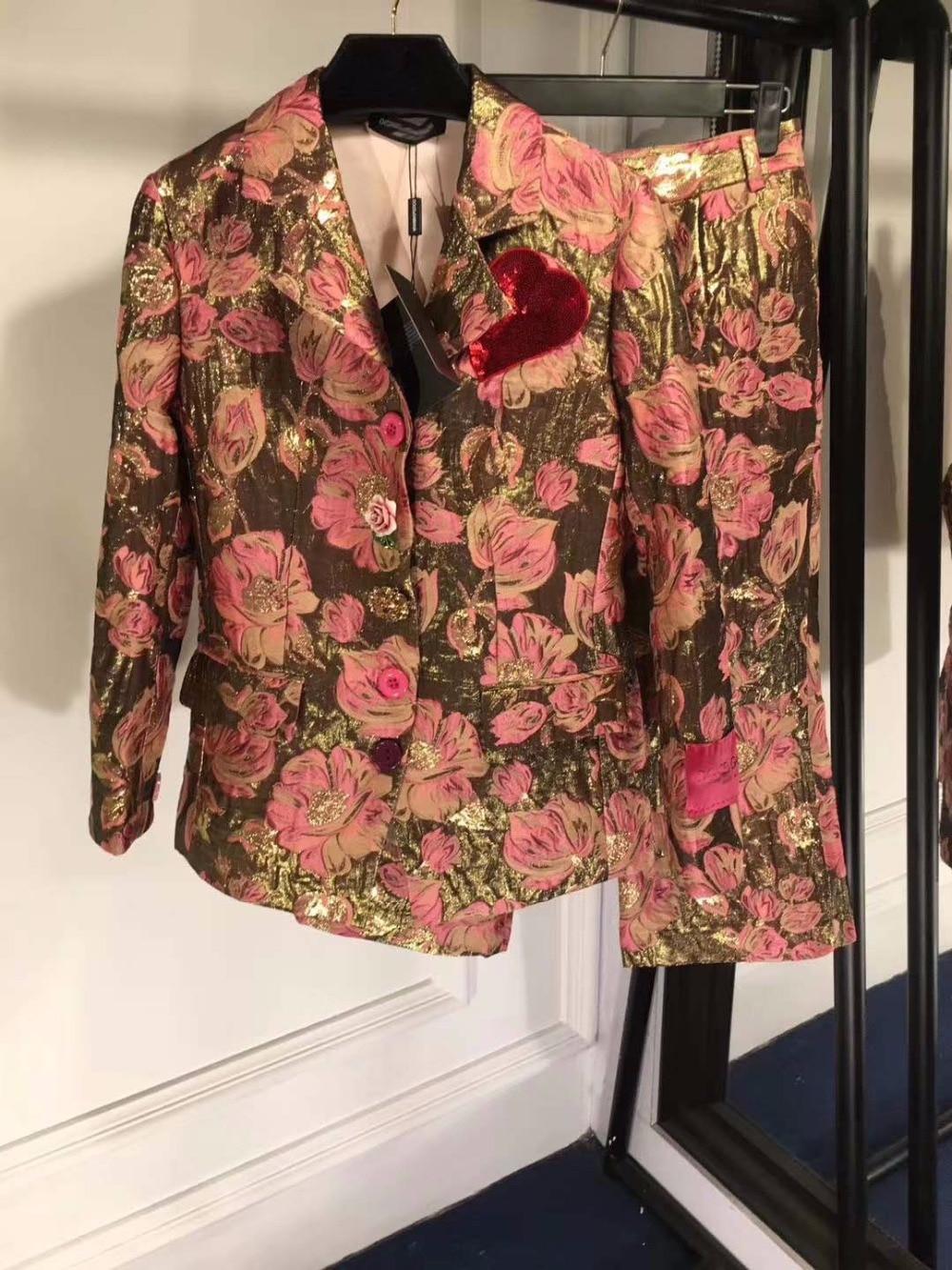 Trouser-Suit Ladies Suits Embroidery 2piece-Set Gold Metallic Line No for Women Noble