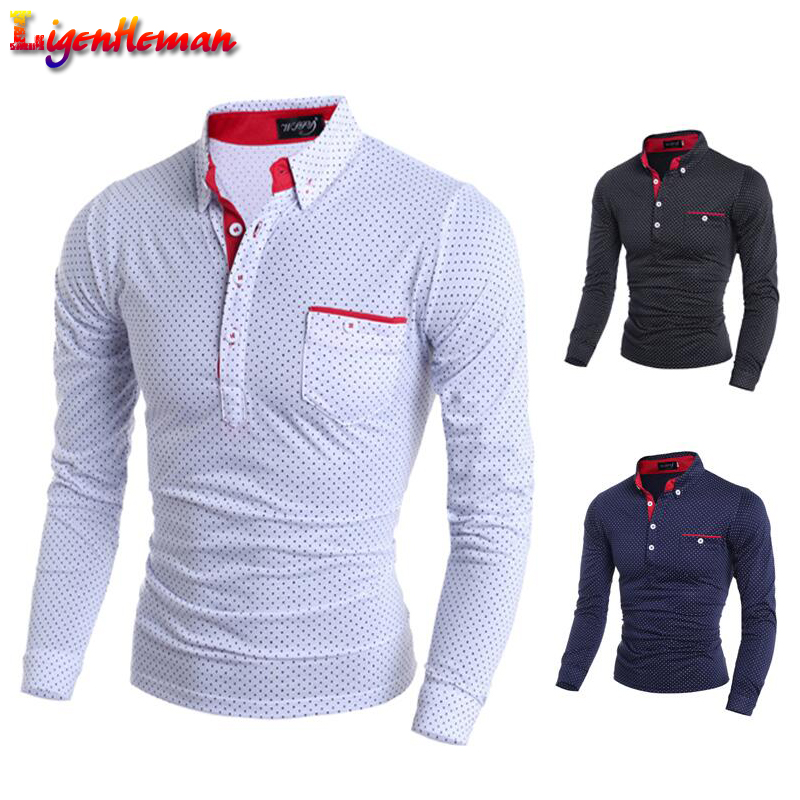 Slim Men Jerseys Mens Brand New 2019 Autumn Polo Male Long Sleeve Fashion Casual Slim Polka Dot Pocket Button Polos