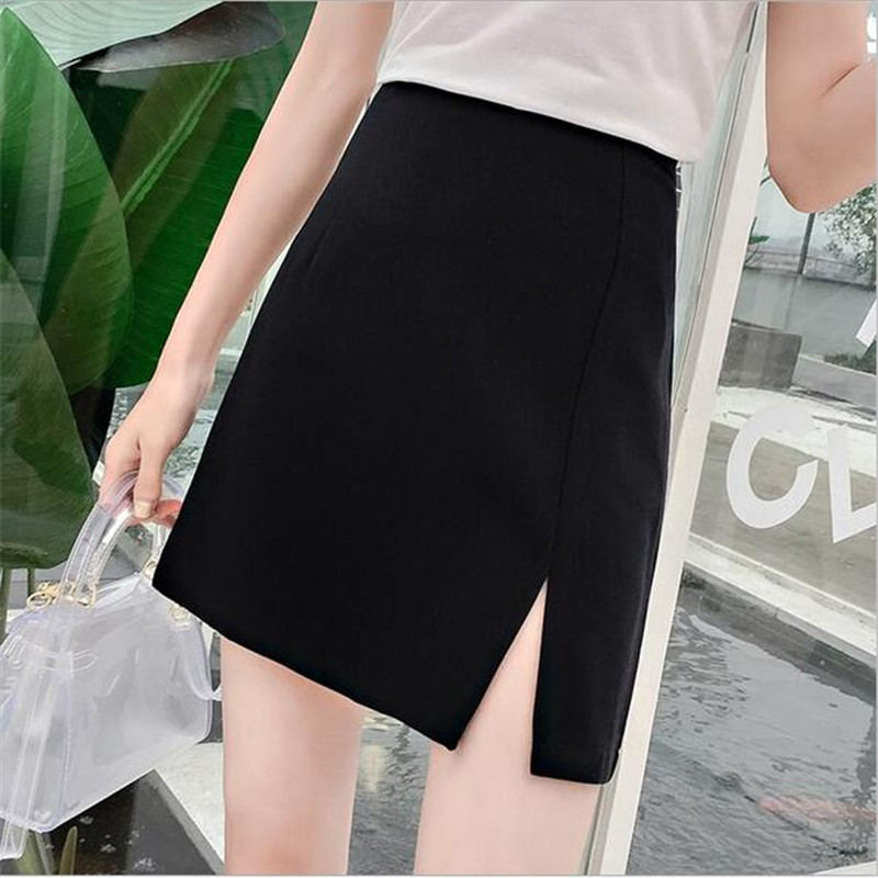 2018 summer new wild single-sided split rear zipper high waist solid color professional wear A word skirt