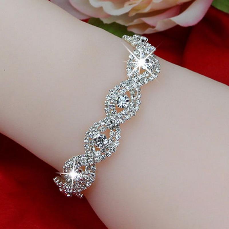 Elegant Deluxe Silver Rhinestone Crystal Bracelet Bangle Jewelry For Women Girl Gift