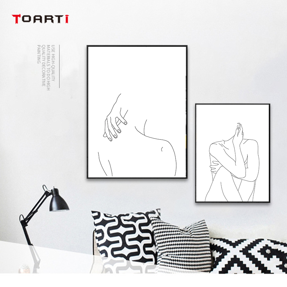 Modular Minimalist Line Drawing Wall Pictures Sexy Woman Body Nude Art Paintings Nordic Posters&Prints Bedroom Home Decor Mural  (1)