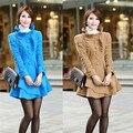 2016 primavera baimuer laciness medio largo abrigo de lana prendas de vestir exteriores de la mujer abrigo de lana