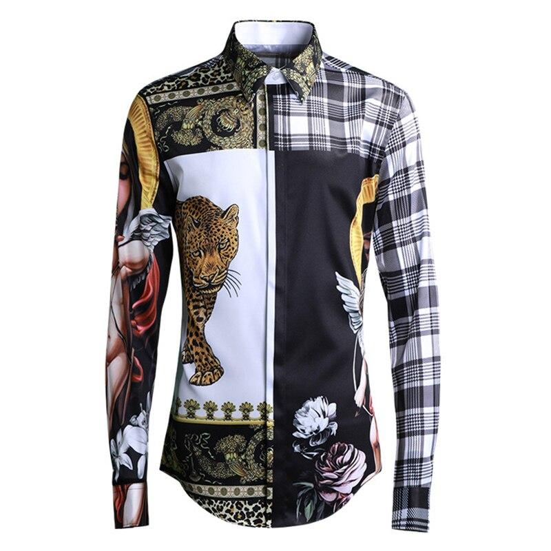 Nouveaux hommes vierge marie tigre impression chemises Europe Design Original à manches longues Slim Fit Plaid chemise mâle mode haute rue vêtements
