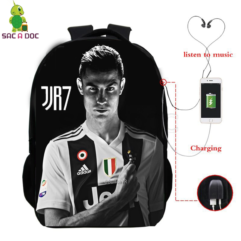 Cristiano Ronaldo 7 Cr7 Backpack Multifunction Usb Charging School Bags For Teenage Girls Boys Fans Daily Backpack Travel Bags