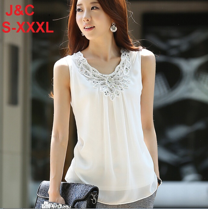 7bedc22b 2015 Summer Women Blouse shirts Ladies Casual Sleeveless Sparkling diamond chiffon  lace blouses women shirt Tops S0255
