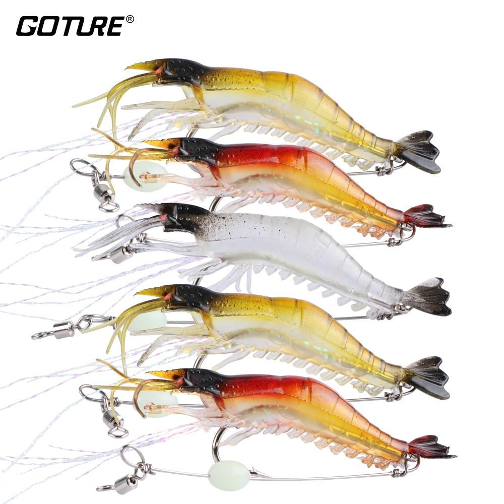 Goture 5pcs lot 9cm 6g Soft Fishing Lure Shrimp Luminous Artificial Bait With Swivel 3 Colors Fishing Lures Baits