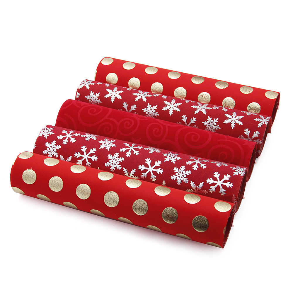David accessories 20*34 CM Navidad lámina de oro flocado tela de lino tela DIY costura telas Patchwork costura, c6250