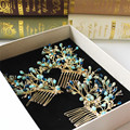 3ps/lot pure handmade hair comb for bride blue clump flowers sweet holiday hair comb wedding bride hairsticks hair ornaments