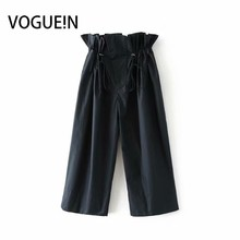 VOGUEIN New Womens Fashion Navy Khaki Pleated Waist Cropped Pants Trousers Wholesale