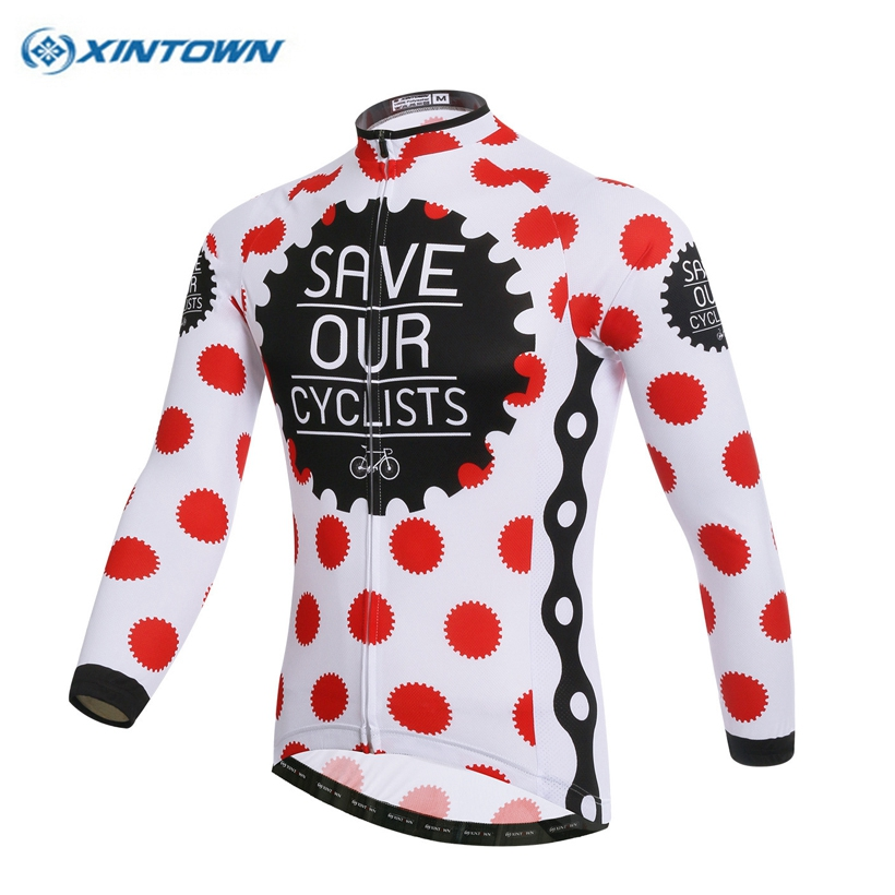 Bicycle World XINTOWN New Red Dots Cycling jersey Winter windproof fleece thermal Bicycle clothing Bicycle long-sleeved shirt Cycling Clothing
