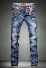 Шипы персонализированные потёртый разрез европейский стиль приталенный состаренные джинсовый мужчины брюки мужские дизайнер истинные джинсы брюки большой размер