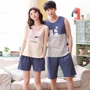 Image 2 - Hot Sale Couple Pajamas Set Summer Men And Women Sleeveless Pyjamas Vest Lovers Sleepwear Plus Size 4XL Nightwear Home Clothing