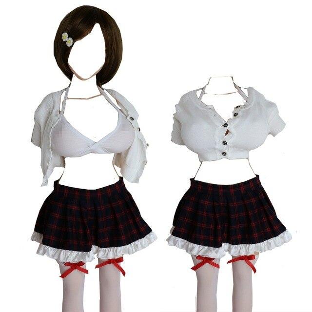 Athemis Babydolls & Chemises 의상 캐주얼 의류 스웨터 체크 무늬 스커트 브래지어 스타킹 맞춤 제작 크기