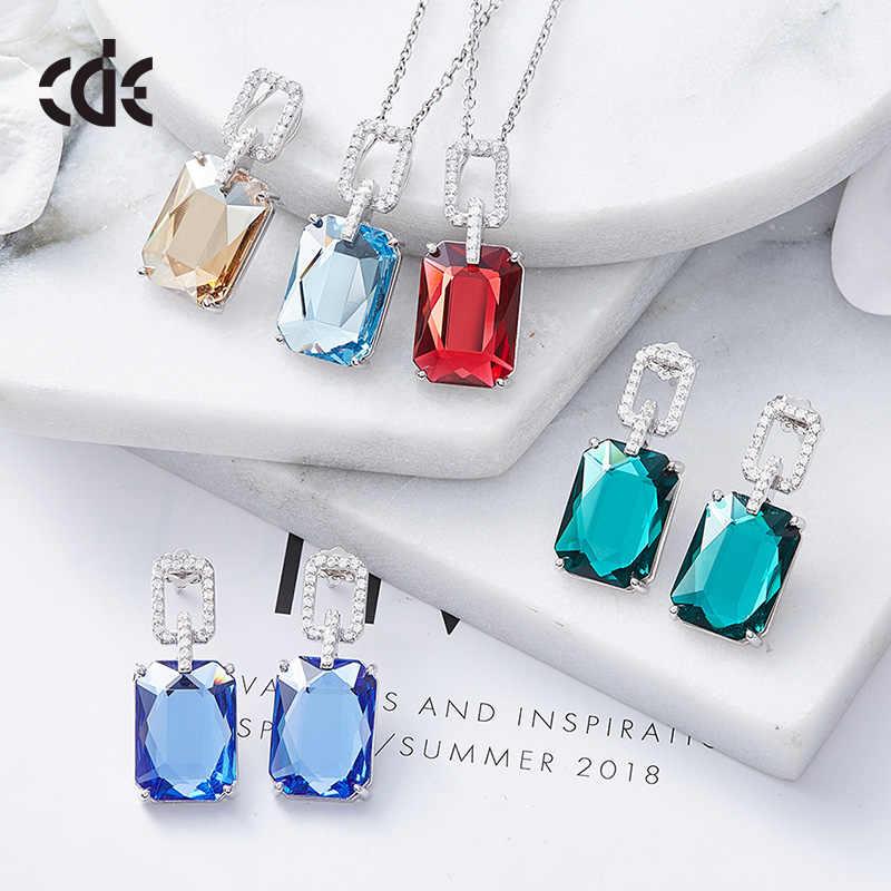 CDE 925 Sterling Silber Schmuck-Set Für Frauen mit kristallen Verziert von Swarovski Luxus Edlen Schmuck Set Mütter Tag Geschenk