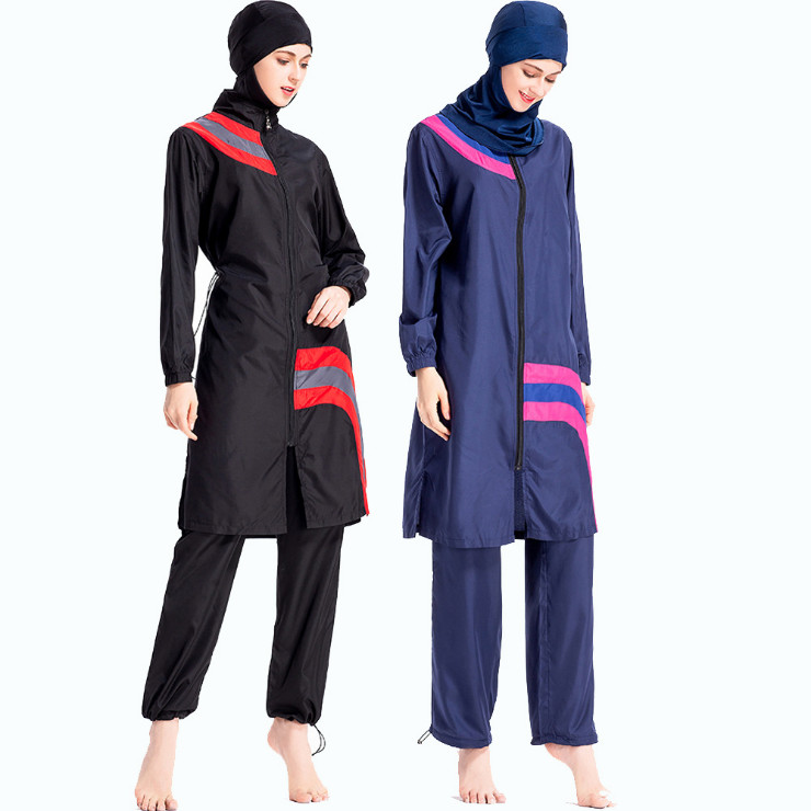 2019 Modest Muslim Swimwear Women Islam Zipper Long Sleeve Plus Size Hijab  Three Piece Full Cover 24154b9f5b38