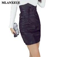 2018 Fashion High Waist Leather Skirt Women Simple Irregular Tight Skirts Black Slim Office Ladies Skirts Harajuku PU Mini Saia