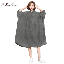 BelineRosa Oversized 5XL 6XL Plus Size Women Clothing England Style Plaid Stand Collar Casual Loose Dress of Big HS000586