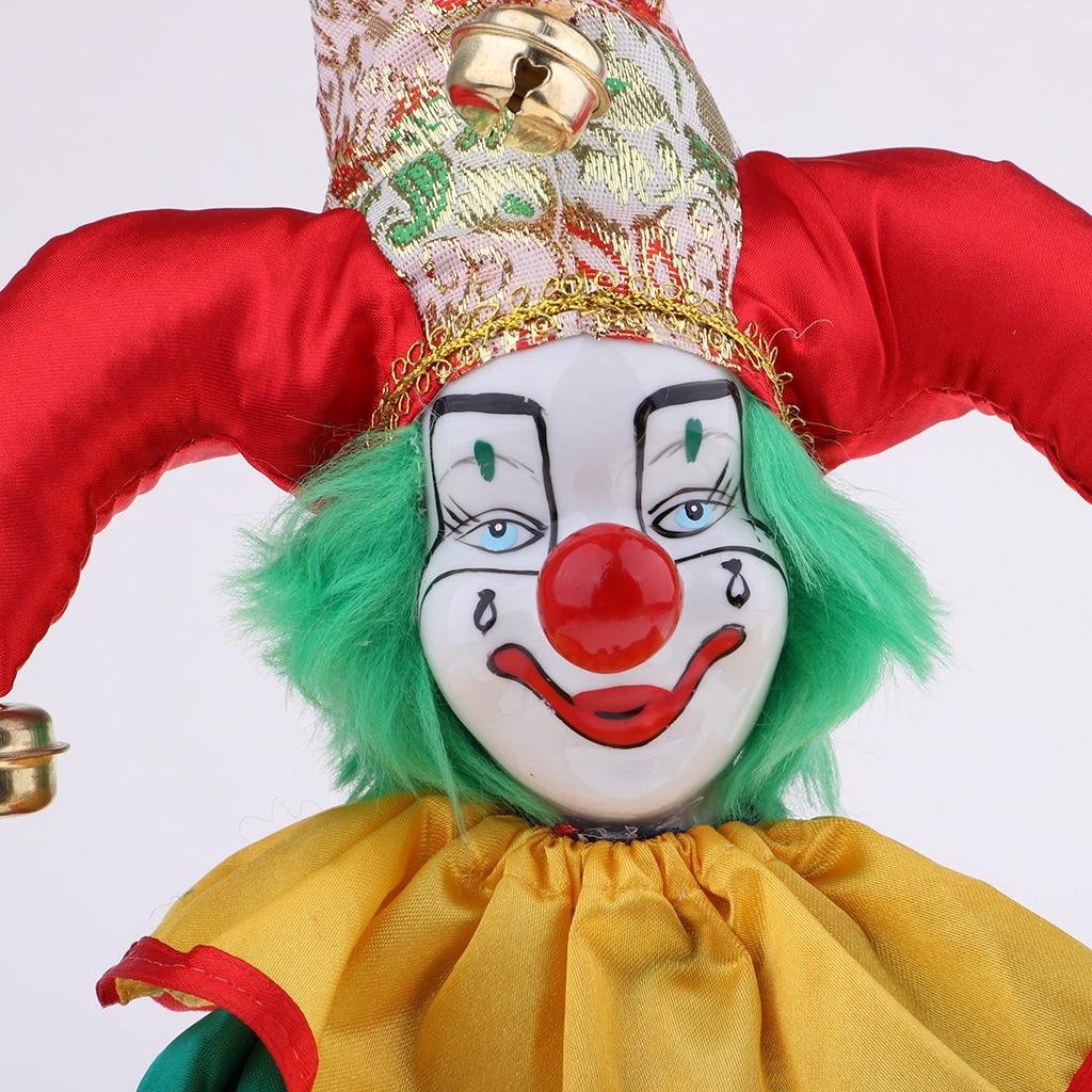3pcs 16cm Porcelain Harlequin Doll Hanging Foot Clown Doll Home Decor Props