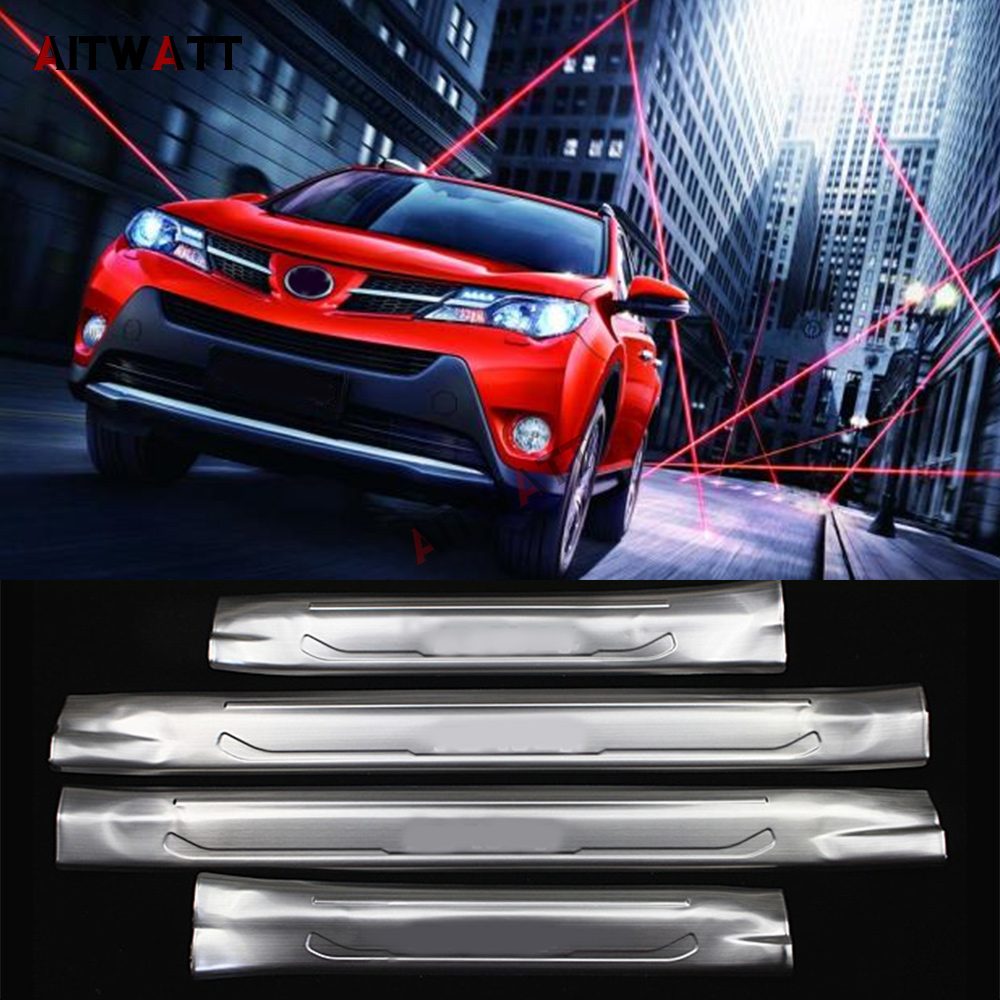 все цены на For Toyota RAV4 2013 2014 2015 2016 Stainless Steel Inner Door Sill Protector Pedal Scuff Plate Cover Trim Car Styling 4Pcs онлайн