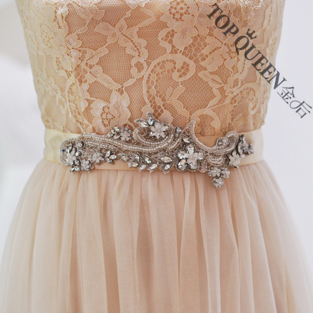 TOPQUEEN women's S180 handmade embroider Wedding evening dress sash Belts Bridal bride Belt Sashes for the party