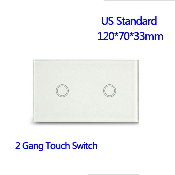 US Standard 2 Gang 1 Way Wall Light Touch Screen Waterproof Crystal Glass Panel Wall Touch Switch smart home uk standard crystal glass panel wireless remote control 1 gang 1 way wall touch switch screen light switch ac 220v