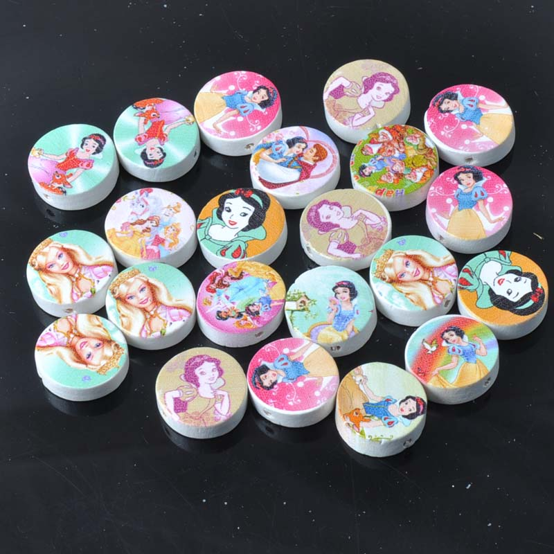 19mm 50pcs Mixed Snow White Paintied Round Wooden Beads For kids Jewelry Making MT0458