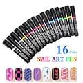 3 шт./лот Акриловые Nail Art Pen Картина 16 Цвета для Выбирают УФ Гель 3D Рисунки Pen Маникюр Nail Art Красоты инструменты