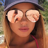 CandisGY New Fashion Women Brand Designer Sunglasses Mirror Rose Gold Flat Top Lady Stylish Sun Glasses Pilot