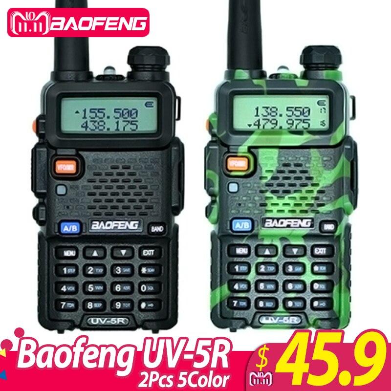 2 pcs Baofeng UV-5R Talkie Walkie UV5R CB Radio Station 5 w 128CH VHF UHF Double Bande UV 5R Deux way Radio pour La Chasse Jambon Radios