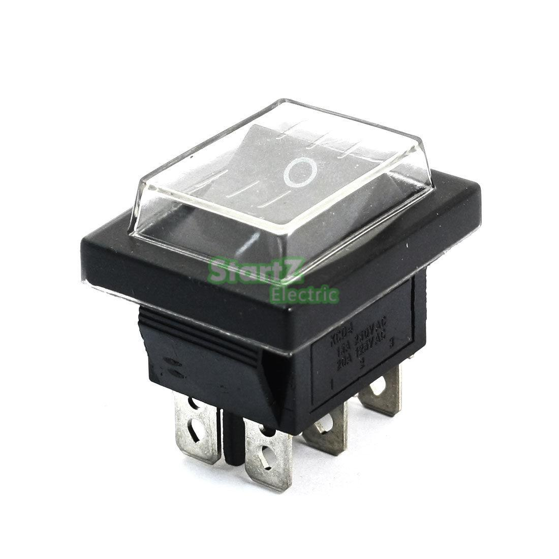 5pcs  AC250V 16A 125V 20A DPDT 6Pin 2-Position Rocker Switch w Waterproof Cover stroke of midnight