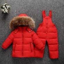 Ấm bạn gái Xuống Áo Khoác Dù thật Lông có mũ bé gái vịt xuống áo khoác trẻ em Áo Khoác Snowsuit quần áo mùa đông của Cậu Bé xuống áo khoác + quần